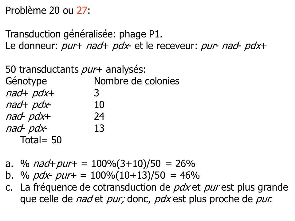 Problème 20 ou 27: Transduction généralisée: phage P1.