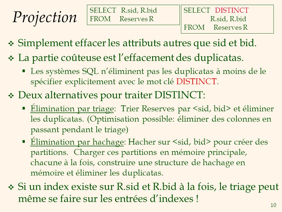 10 Projection Simplement effacer les attributs autres que sid et bid. La partie coûteuse est leffacement des duplicatas. Les systèmes SQL néliminent p