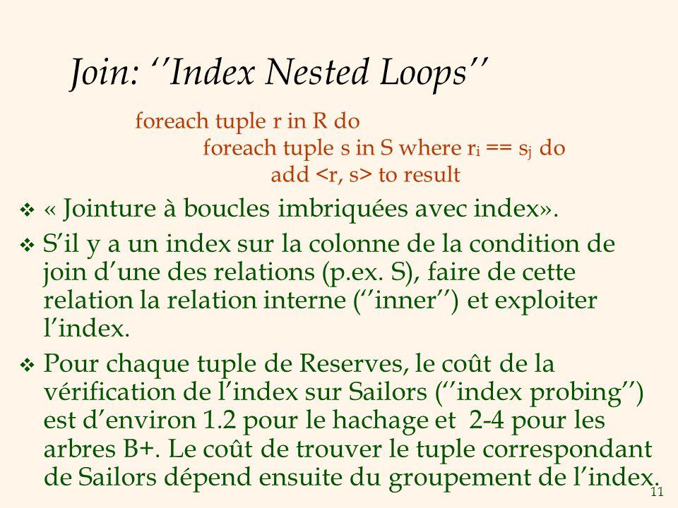 11 Join: Index Nested Loops « Jointure à boucles imbriquées avec index». Sil y a un index sur la colonne de la condition de join dune des relations (p