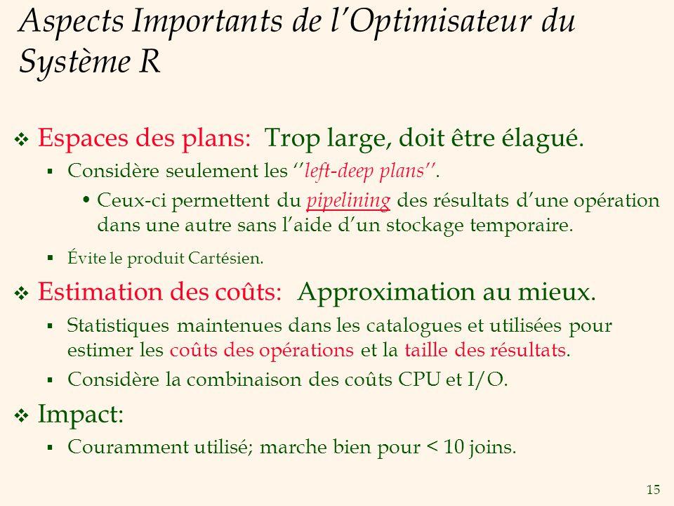 15 Aspects Importants de lOptimisateur du Système R Espaces des plans: Trop large, doit être élagué. Considère seulement les left-deep plans. Ceux-ci