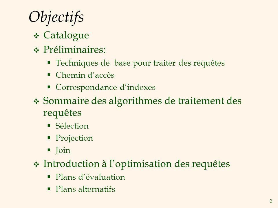 2 Objectifs Catalogue Préliminaires: Techniques de base pour traiter des requêtes Chemin daccès Correspondance dindexes Sommaire des algorithmes de tr