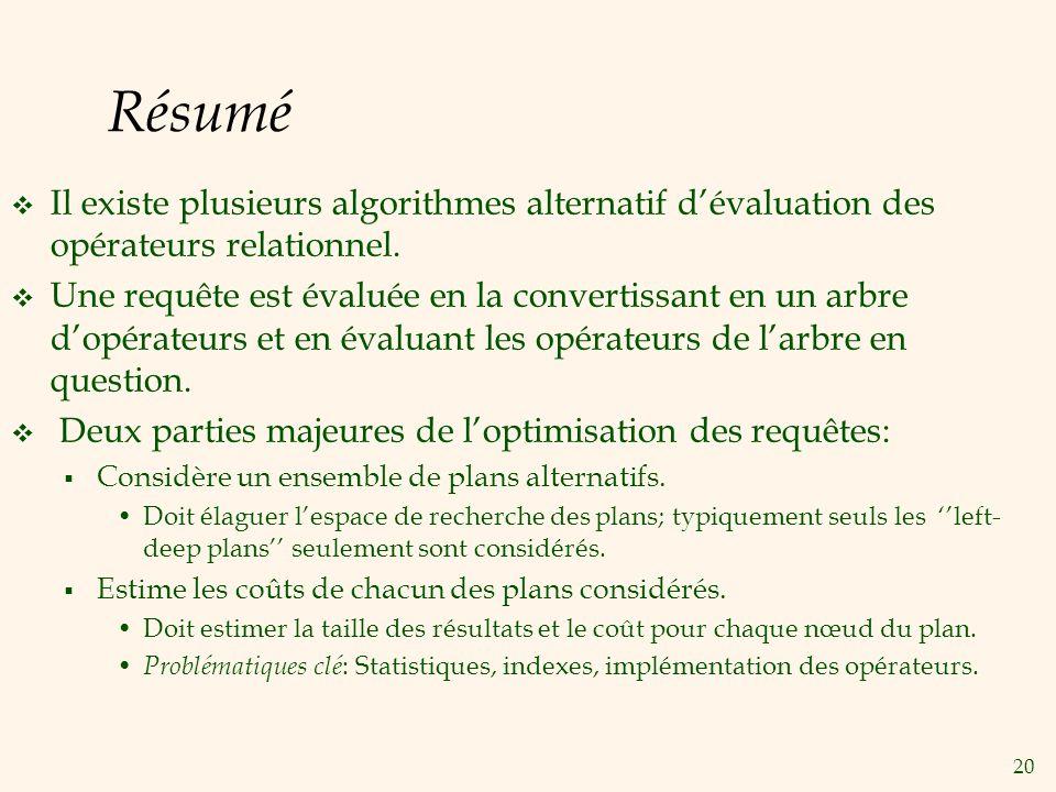 20 Résumé Il existe plusieurs algorithmes alternatif dévaluation des opérateurs relationnel. Une requête est évaluée en la convertissant en un arbre d