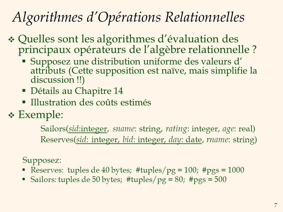 7 Algorithmes dOpérations Relationnelles Quelles sont les algorithmes dévaluation des principaux opérateurs de lalgèbre relationnelle ? Supposez une d