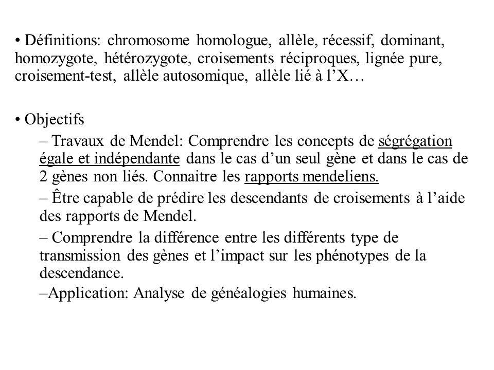 Définitions: chromosome homologue, allèle, récessif, dominant, homozygote, hétérozygote, croisements réciproques, lignée pure, croisement-test, allèle