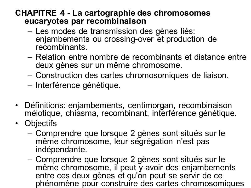 CHAPITRE 4 - La cartographie des chromosomes eucaryotes par recombinaison –Les modes de transmission des gènes liés: enjambements ou crossing-over et