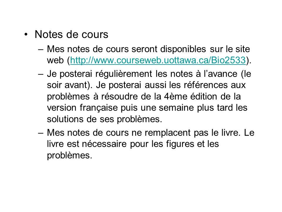 Notes de cours –Mes notes de cours seront disponibles sur le site web (http://www.courseweb.uottawa.ca/Bio2533).http://www.courseweb.uottawa.ca/Bio253