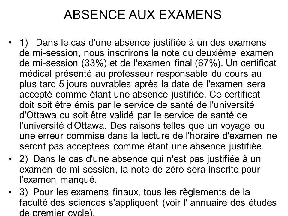 ABSENCE AUX EXAMENS 1) Dans le cas d'une absence justifiée à un des examens de mi-session, nous inscrirons la note du deuxième examen de mi-session (3