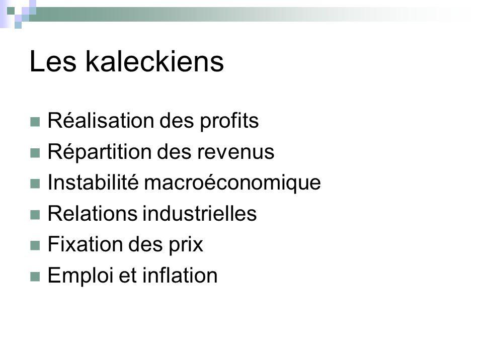 Les kaleckiens Réalisation des profits Répartition des revenus Instabilité macroéconomique Relations industrielles Fixation des prix Emploi et inflati