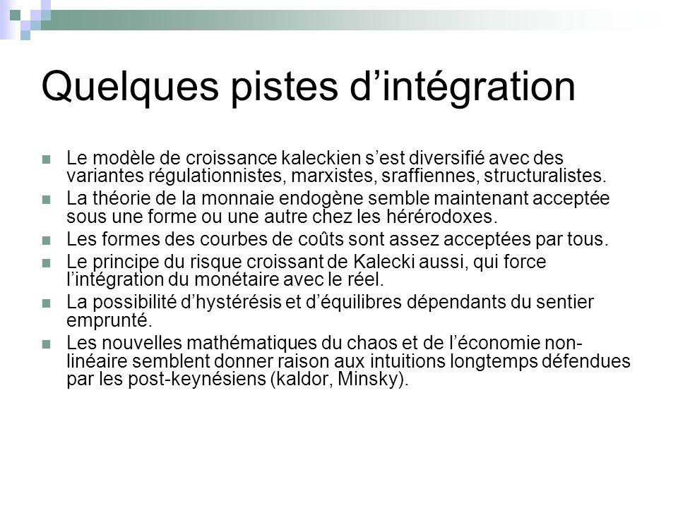 Quelques pistes dintégration Le modèle de croissance kaleckien sest diversifié avec des variantes régulationnistes, marxistes, sraffiennes, structural