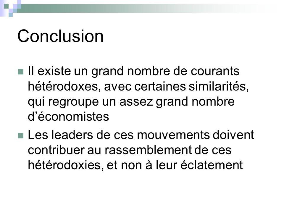 Conclusion Il existe un grand nombre de courants hétérodoxes, avec certaines similarités, qui regroupe un assez grand nombre déconomistes Les leaders