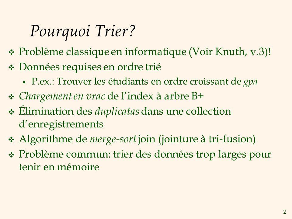 2 Pourquoi Trier. Problème classique en informatique (Voir Knuth, v.3).