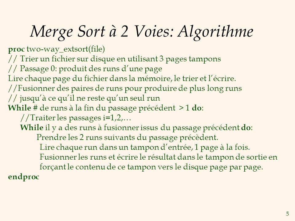 5 Merge Sort à 2 Voies: Algorithme proc two-way_extsort(file) // Trier un fichier sur disque en utilisant 3 pages tampons // Passage 0: produit des runs dune page Lire chaque page du fichier dans la mémoire, le trier et lécrire.