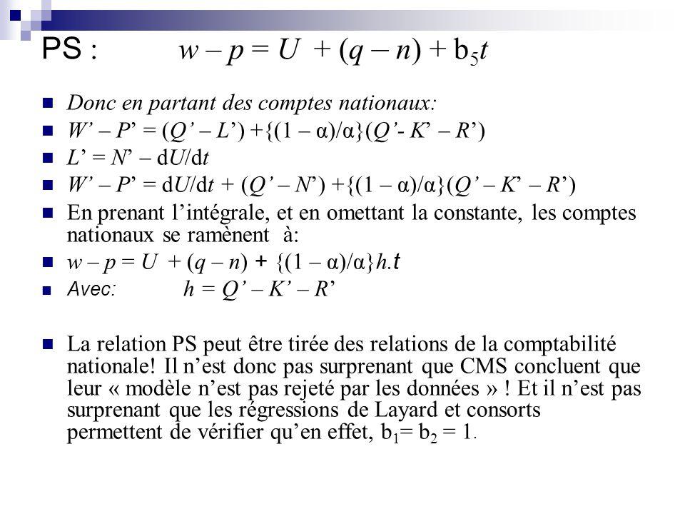 PS : w – p = U + (q – n) + b 5 t Donc en partant des comptes nationaux: W – P = (Q – L) +{(1 – α)/α}(Q- K – R) L = N – dU/dt W – P = dU/dt + (Q – N) +