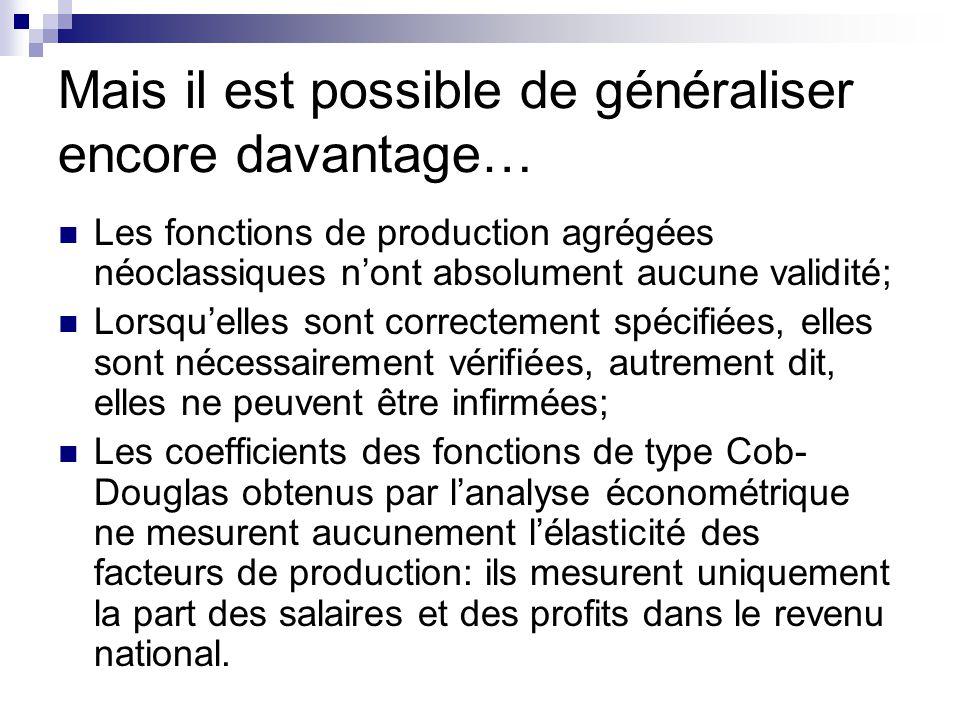 Mais il est possible de généraliser encore davantage… Les fonctions de production agrégées néoclassiques nont absolument aucune validité; Lorsquelles