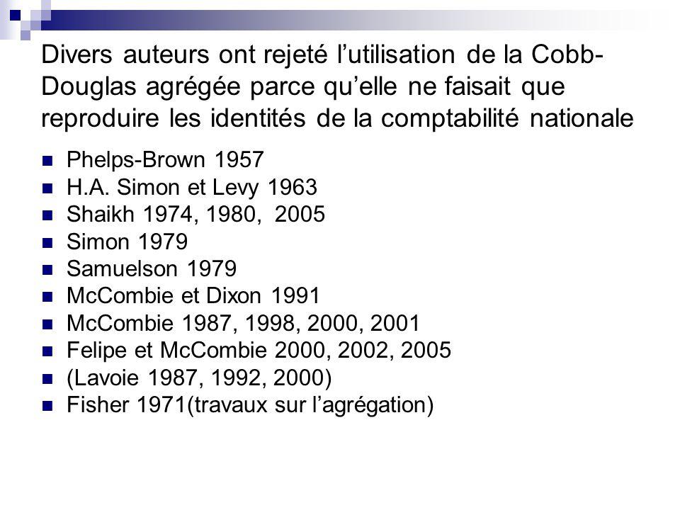 Divers auteurs ont rejeté lutilisation de la Cobb- Douglas agrégée parce quelle ne faisait que reproduire les identités de la comptabilité nationale P