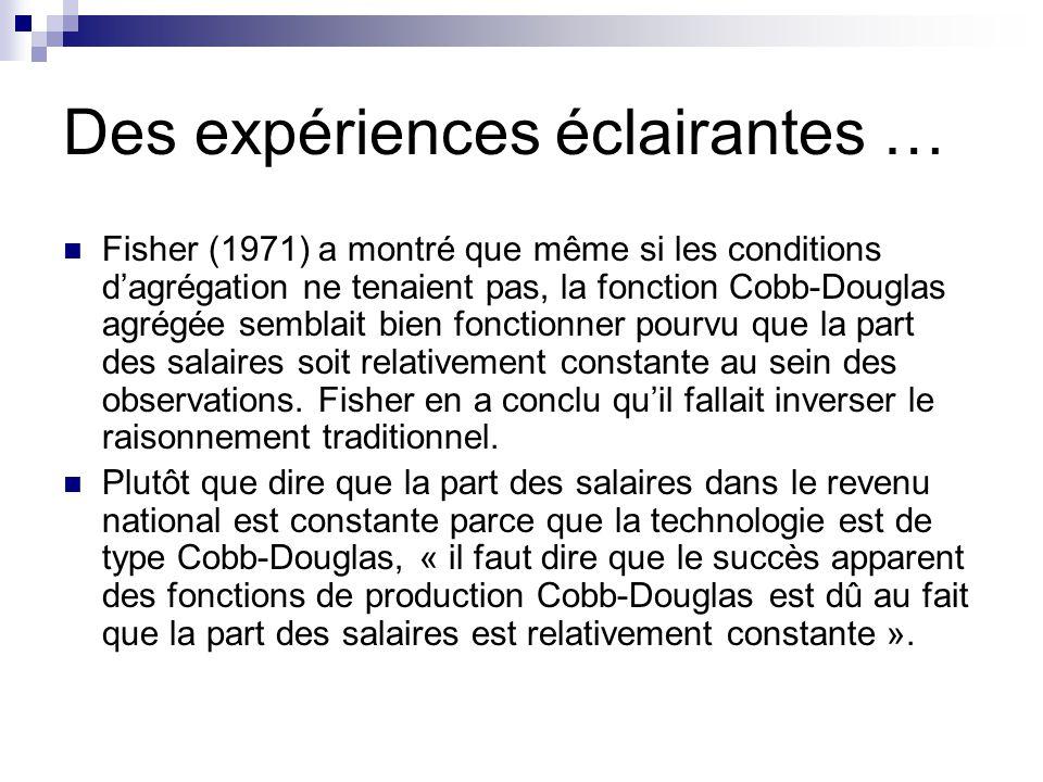 Des expériences éclairantes … Fisher (1971) a montré que même si les conditions dagrégation ne tenaient pas, la fonction Cobb-Douglas agrégée semblait