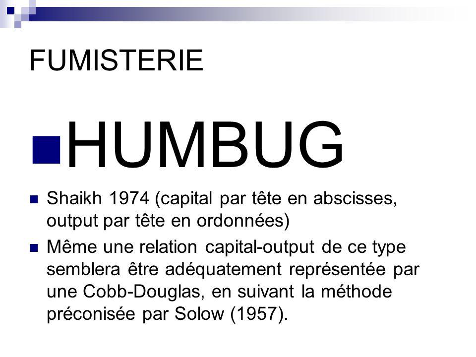 FUMISTERIE HUMBUG Shaikh 1974 (capital par tête en abscisses, output par tête en ordonnées) Même une relation capital-output de ce type semblera être