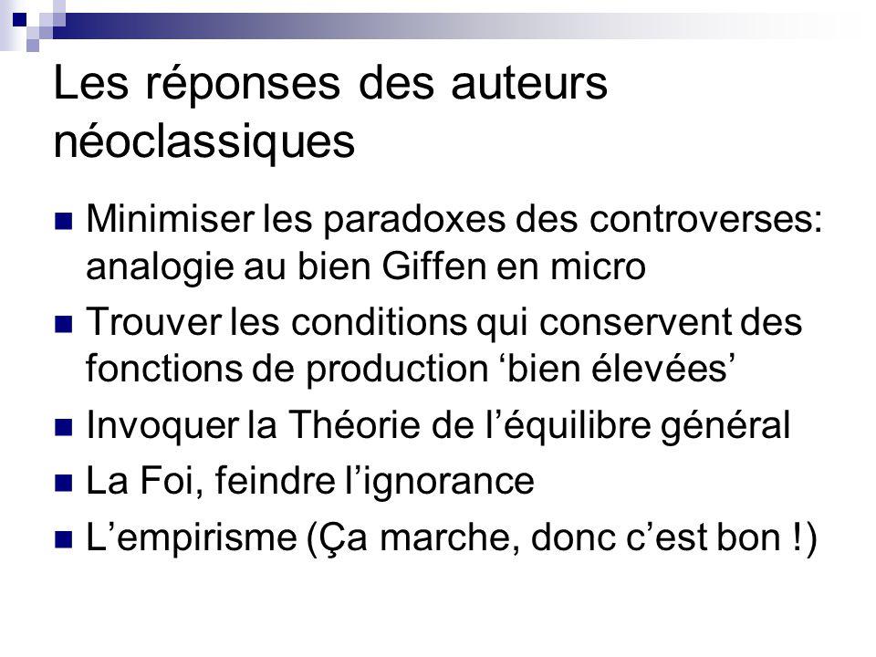 Lempirisme de lépoque « Le postulat néoclassique est lui-même une proposition qui peut être testée empiriquement en principe sous la forme dune estimation de la fonction de production de type C.E.S.