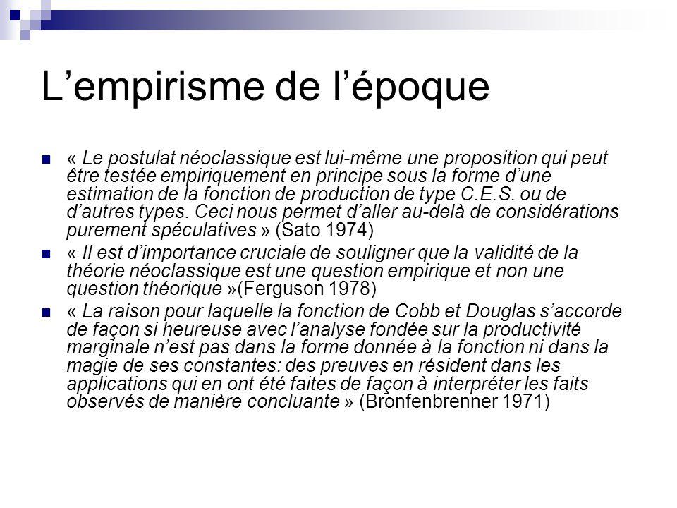 Lempirisme de lépoque « Le postulat néoclassique est lui-même une proposition qui peut être testée empiriquement en principe sous la forme dune estima