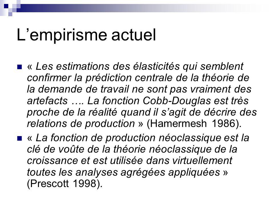 Lempirisme actuel « Les estimations des élasticités qui semblent confirmer la prédiction centrale de la théorie de la demande de travail ne sont pas v