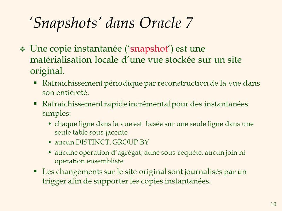 10 Snapshots dans Oracle 7 Une copie instantanée (snapshot) est une matérialisation locale dune vue stockée sur un site original. Rafraichissement pér