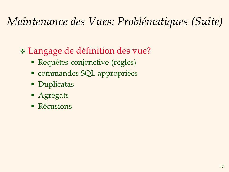13 Maintenance des Vues: Problématiques (Suite) Langage de définition des vue? Requêtes conjonctive (règles) commandes SQL appropriées Duplicatas Agré