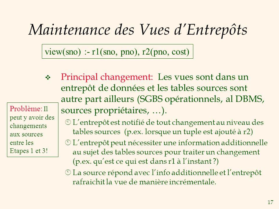 17 Maintenance des Vues dEntrepôts Principal changement: Les vues sont dans un entrepôt de données et les tables sources sont autre part ailleurs (SGB