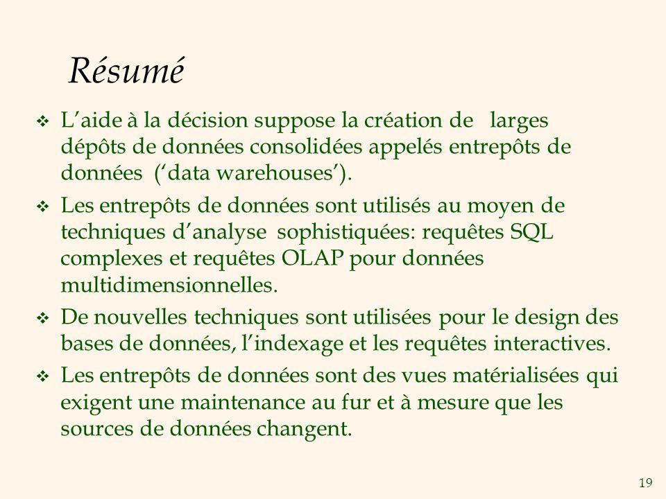19 Résumé Laide à la décision suppose la création de larges dépôts de données consolidées appelés entrepôts de données (data warehouses). Les entrepôt