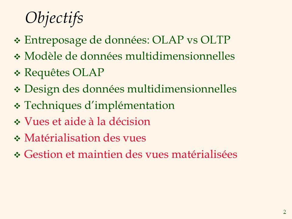 2 Objectifs Entreposage de données: OLAP vs OLTP Modèle de données multidimensionnelles Requêtes OLAP Design des données multidimensionnelles Techniqu