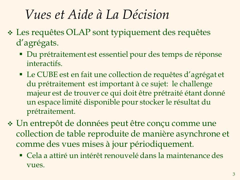 3 Vues et Aide à La Décision Les requêtes OLAP sont typiquement des requêtes dagrégats. Du prétraitement est essentiel pour des temps de réponse inter