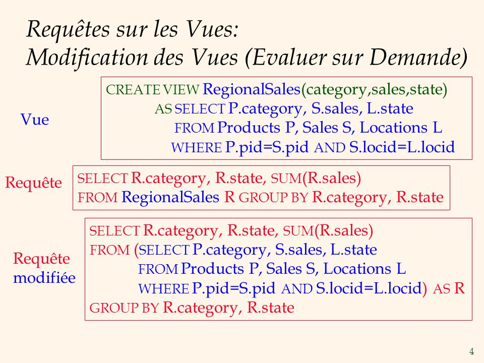 4 Requêtes sur les Vues: Modification des Vues (Evaluer sur Demande) CREATE VIEW RegionalSales(category,sales,state) AS SELECT P.category, S.sales, L.state FROM Products P, Sales S, Locations L WHERE P.pid=S.pid AND S.locid=L.locid SELECT R.category, R.state, SUM (R.sales) FROM RegionalSales R GROUP BY R.category, R.state SELECT R.category, R.state, SUM (R.sales) FROM ( SELECT P.category, S.sales, L.state FROM Products P, Sales S, Locations L WHERE P.pid=S.pid AND S.locid=L.locid) AS R GROUP BY R.category, R.state Vue Requête modifiée