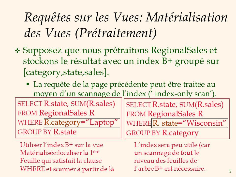 5 Requêtes sur les Vues: Matérialisation des Vues (Prétraitement) Supposez que nous prétraitons RegionalSales et stockons le résultat avec un index B+