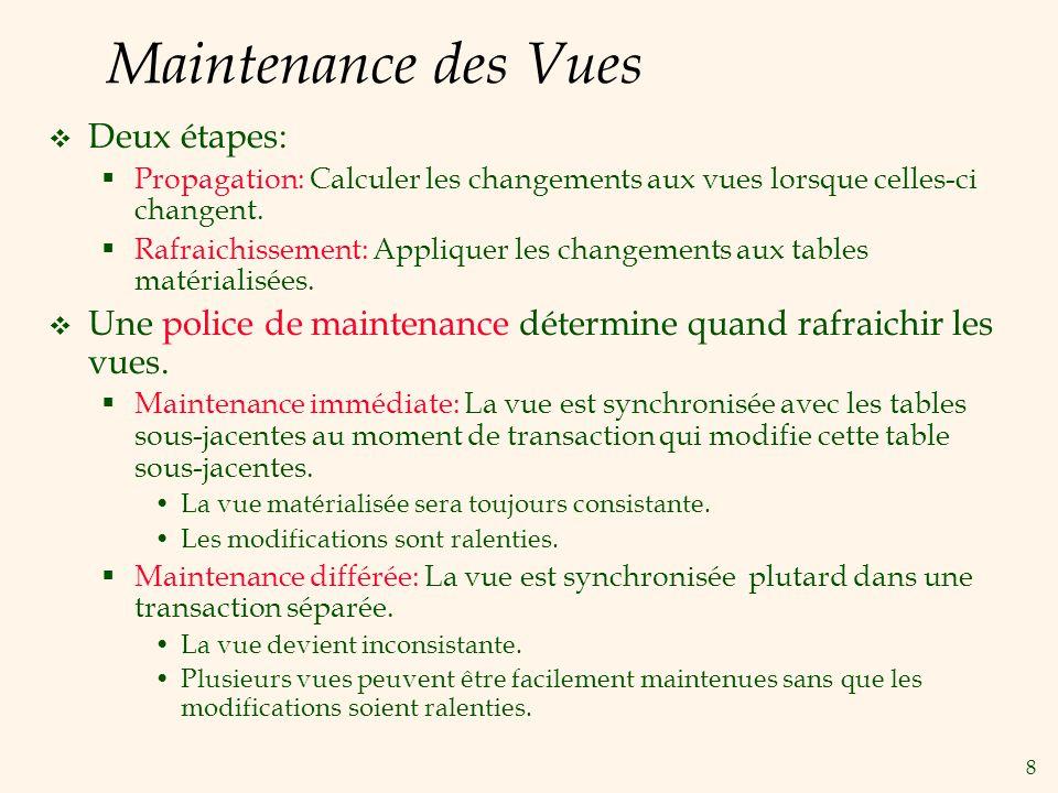 8 Maintenance des Vues Deux étapes: Propagation: Calculer les changements aux vues lorsque celles-ci changent. Rafraichissement: Appliquer les changem