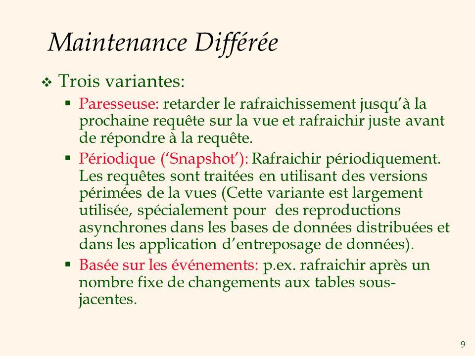 9 Maintenance Différée Trois variantes: Paresseuse: retarder le rafraichissement jusquà la prochaine requête sur la vue et rafraichir juste avant de r