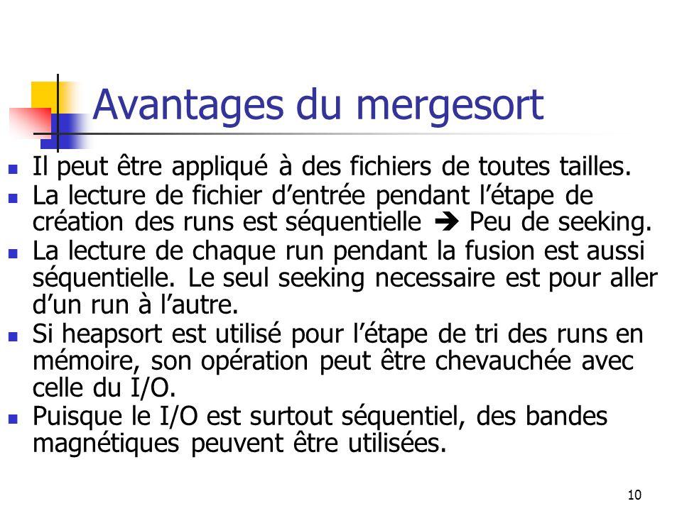 10 Avantages du mergesort Il peut être appliqué à des fichiers de toutes tailles.