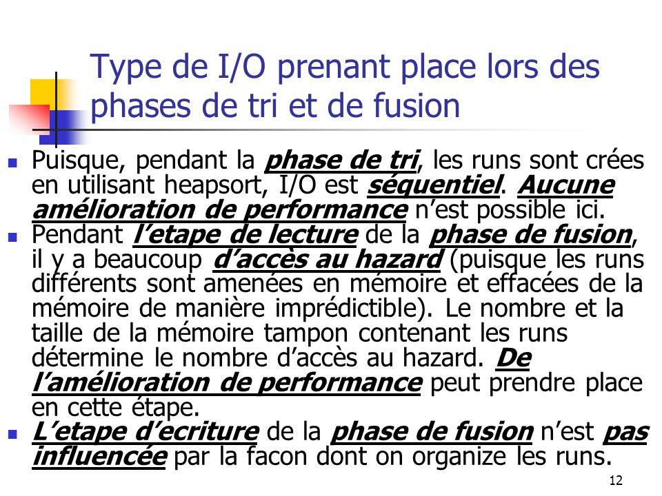 12 Type de I/O prenant place lors des phases de tri et de fusion Puisque, pendant la phase de tri, les runs sont crées en utilisant heapsort, I/O est séquentiel.