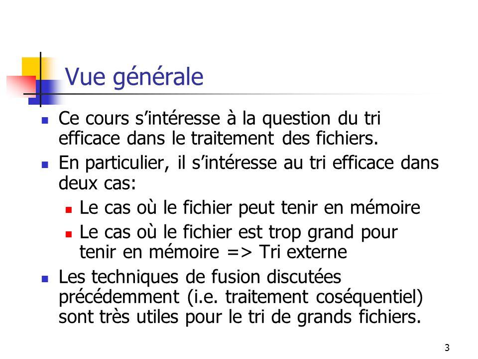 3 Vue générale Ce cours sintéresse à la question du tri efficace dans le traitement des fichiers.