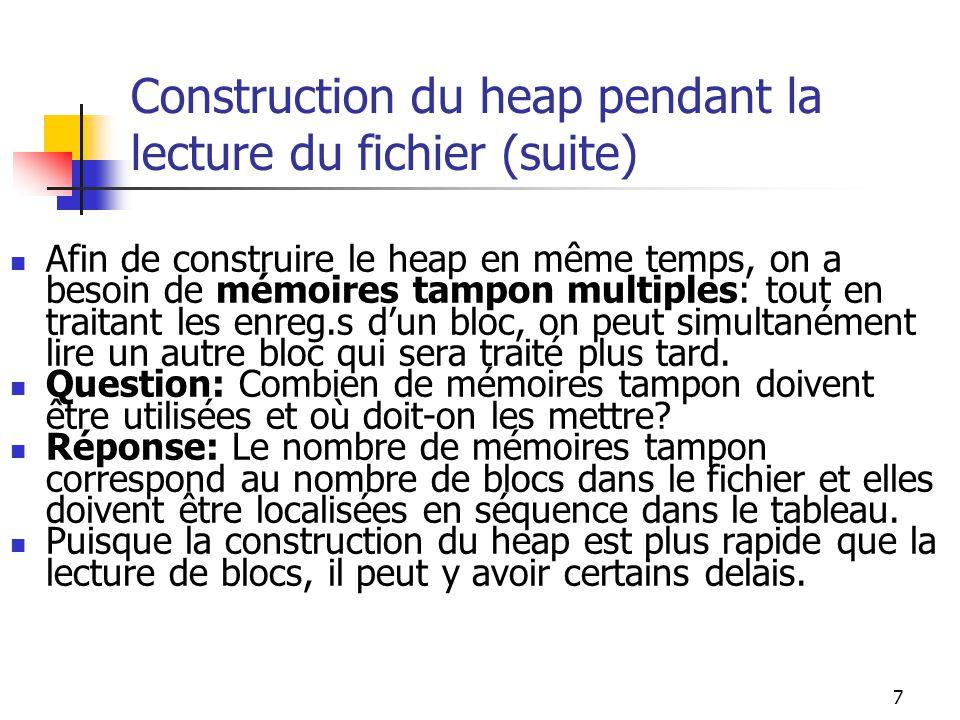 7 Construction du heap pendant la lecture du fichier (suite) Afin de construire le heap en même temps, on a besoin de mémoires tampon multiples: tout en traitant les enreg.s dun bloc, on peut simultanément lire un autre bloc qui sera traité plus tard.