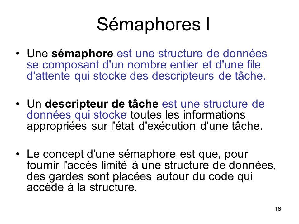16 Sémaphores I Une sémaphore est une structure de données se composant d'un nombre entier et d'une file d'attente qui stocke des descripteurs de tâch