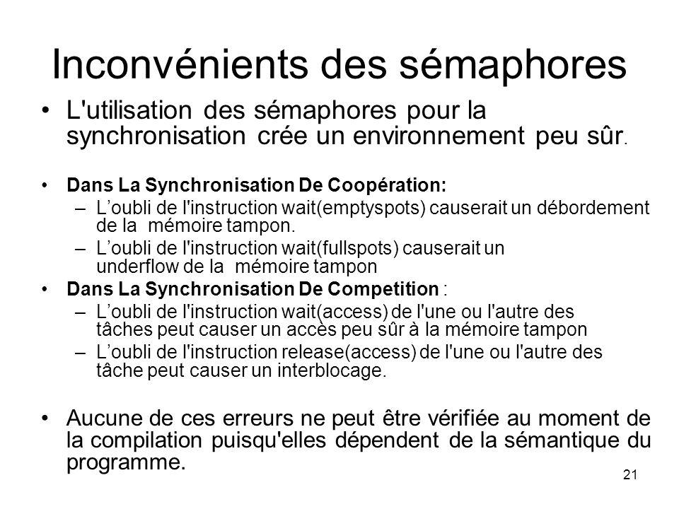 21 Inconvénients des sémaphores L'utilisation des sémaphores pour la synchronisation crée un environnement peu sûr. Dans La Synchronisation De Coopéra