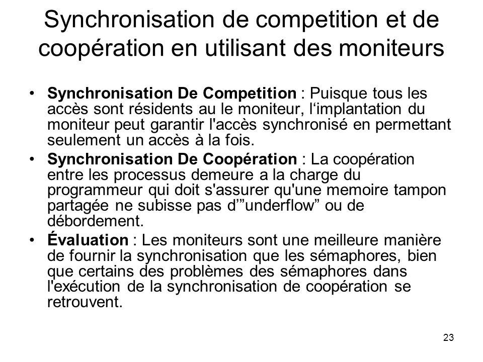 23 Synchronisation de competition et de coopération en utilisant des moniteurs Synchronisation De Competition : Puisque tous les accès sont résidents