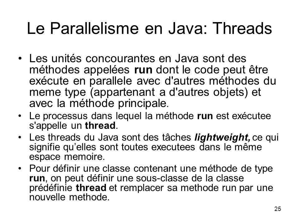 25 Le Parallelisme en Java: Threads Les unités concourantes en Java sont des méthodes appelées run dont le code peut être exécute en parallele avec d'