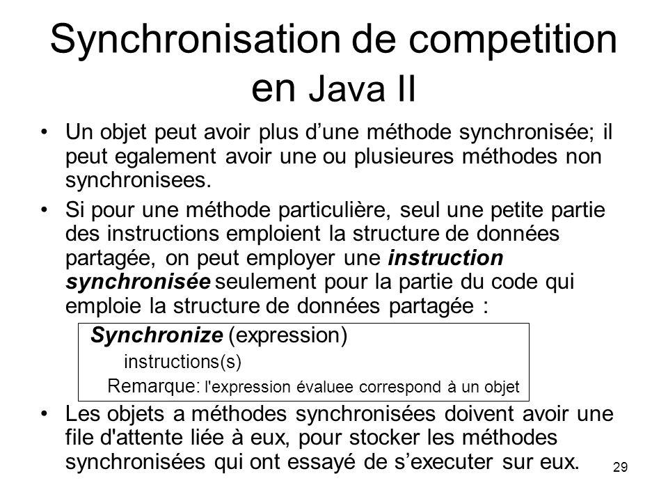 29 Synchronisation de competition en Java II Un objet peut avoir plus dune méthode synchronisée; il peut egalement avoir une ou plusieures méthodes no