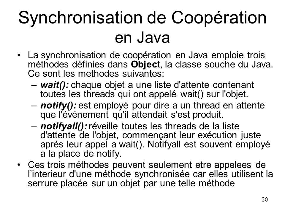 30 Synchronisation de Coopération en Java La synchronisation de coopération en Java emploie trois méthodes définies dans Object, la classe souche du J
