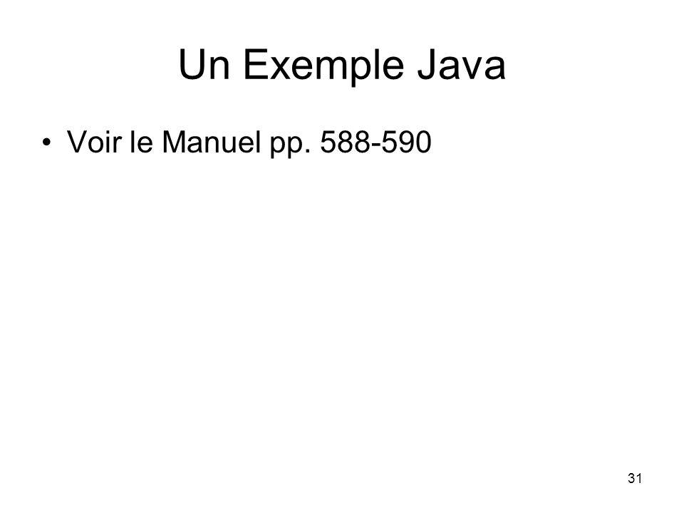 31 Un Exemple Java Voir le Manuel pp. 588-590