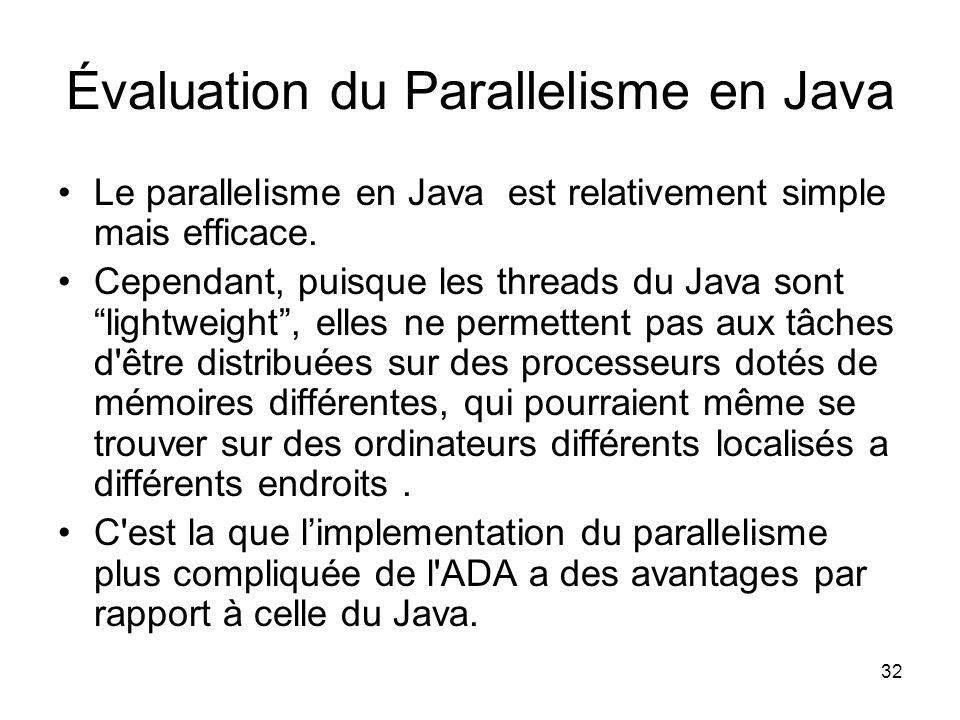 32 Évaluation du Parallelisme en Java Le parallelisme en Java est relativement simple mais efficace. Cependant, puisque les threads du Java sont light