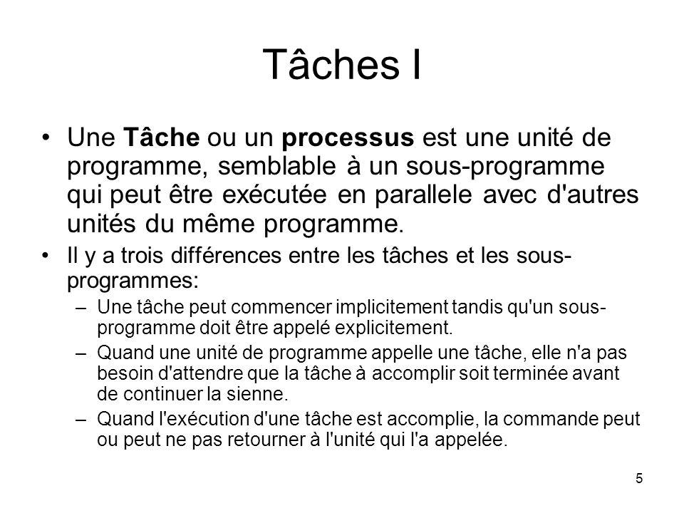 5 Tâches I Une Tâche ou un processus est une unité de programme, semblable à un sous-programme qui peut être exécutée en parallele avec d'autres unité