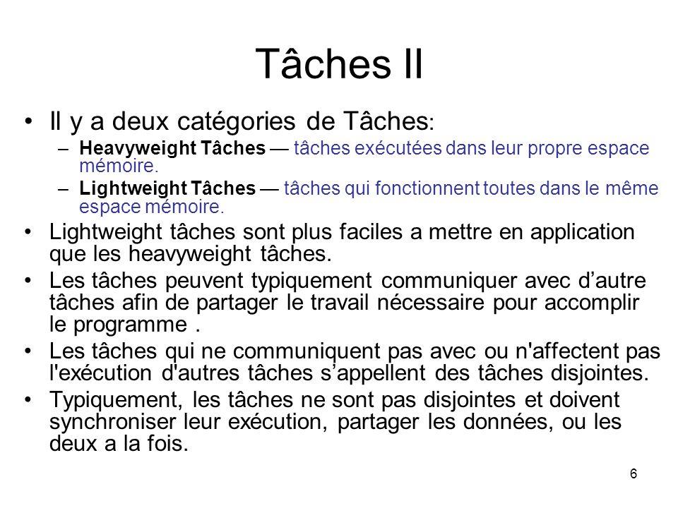 6 Tâches II Il y a deux catégories de Tâches : –Heavyweight Tâches tâches exécutées dans leur propre espace mémoire. –Lightweight Tâches tâches qui fo