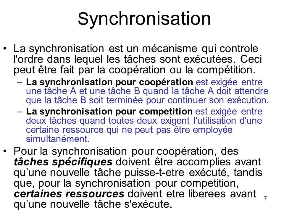 7 S ynchronisation La synchronisation est un mécanisme qui controle l'ordre dans lequel les tâches sont exécutées. Ceci peut être fait par la coopérat