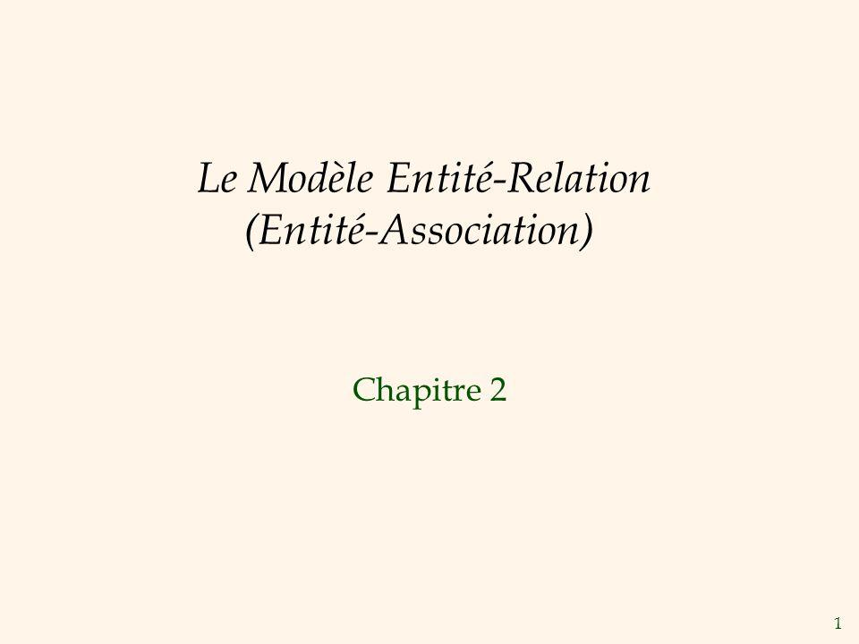1 Le Modèle Entité-Relation (Entité-Association) Chapitre 2